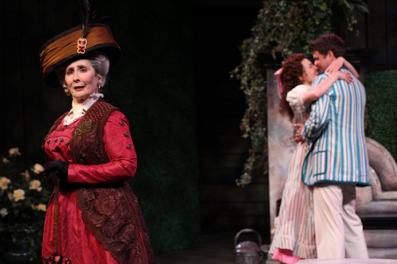 Sarah Day, Kelsey Brennan and Marcus Truschinski in The Importance of Being Earnest, 2014