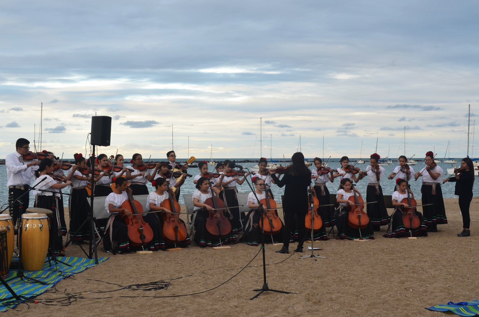 A youth orchestra plays at We Are Water 2019