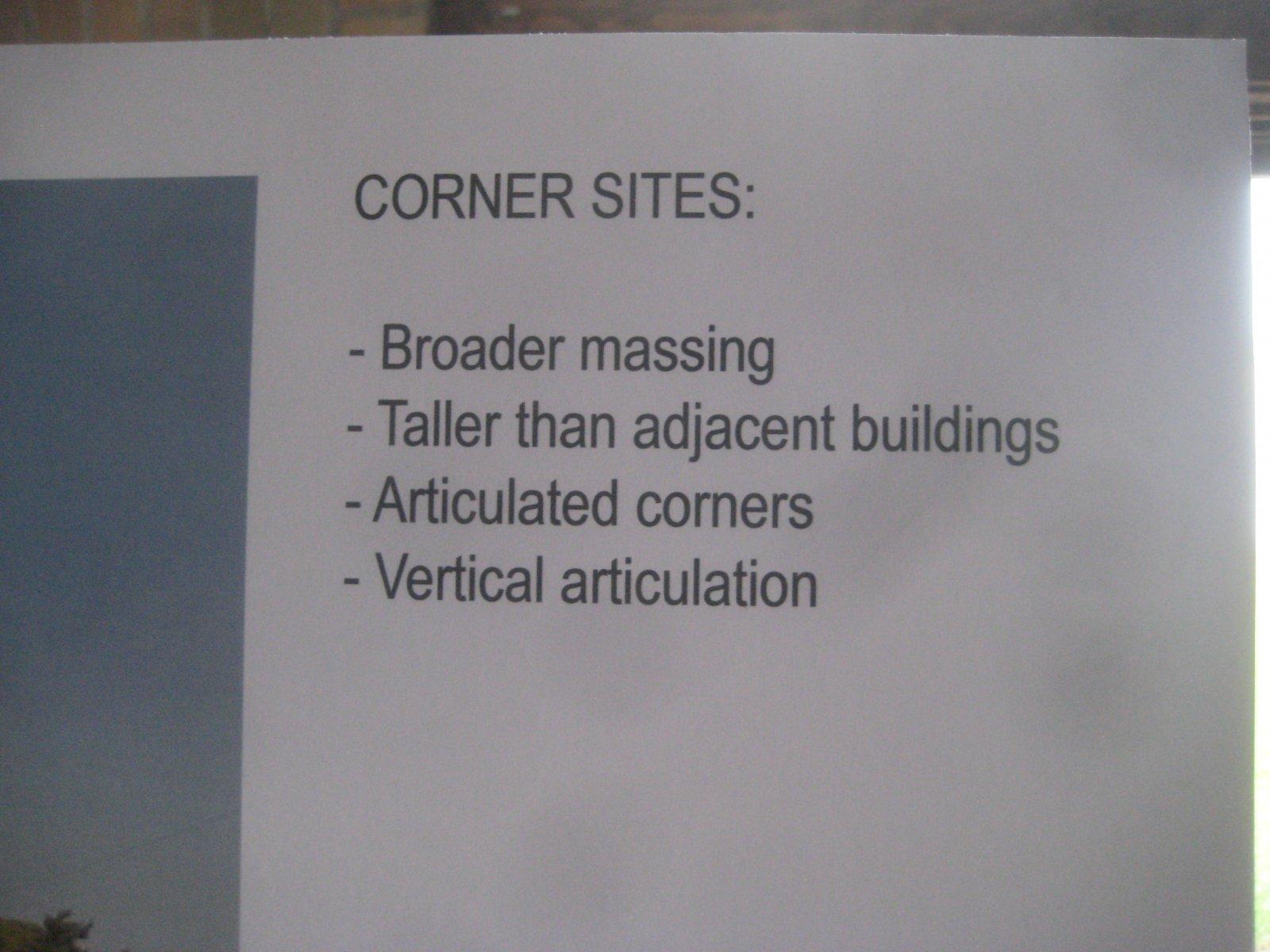 Corner sites