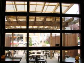 Garage door opening to patio.