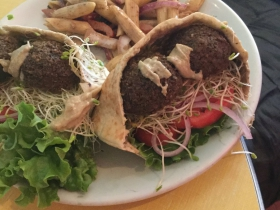 Falafel Sandwich with pasta salad