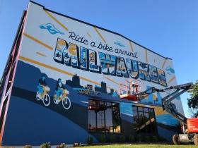 In-Progress Ride a Bike Around Milwaukee Mural