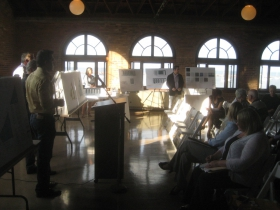 Residents listen to the presentation.