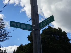 Intersection memorializing Elijah Estes and Zebiah Wentworth