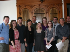Spoilers cast, from left to right: Troy Freund, Kari Courture, Derek Freund, Lisa Walker England, Jaime Jastrab, Katrin Hustedde, Lisa Marie Moldenhauer Rasmussen, Joanne Helmers, Jason Krukowski , Terrence Donohue, and Scott Radtke.