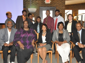 The African American Chamber of Commerce Board Members posing with Vincent High School students. Photo by Tony Atkins.