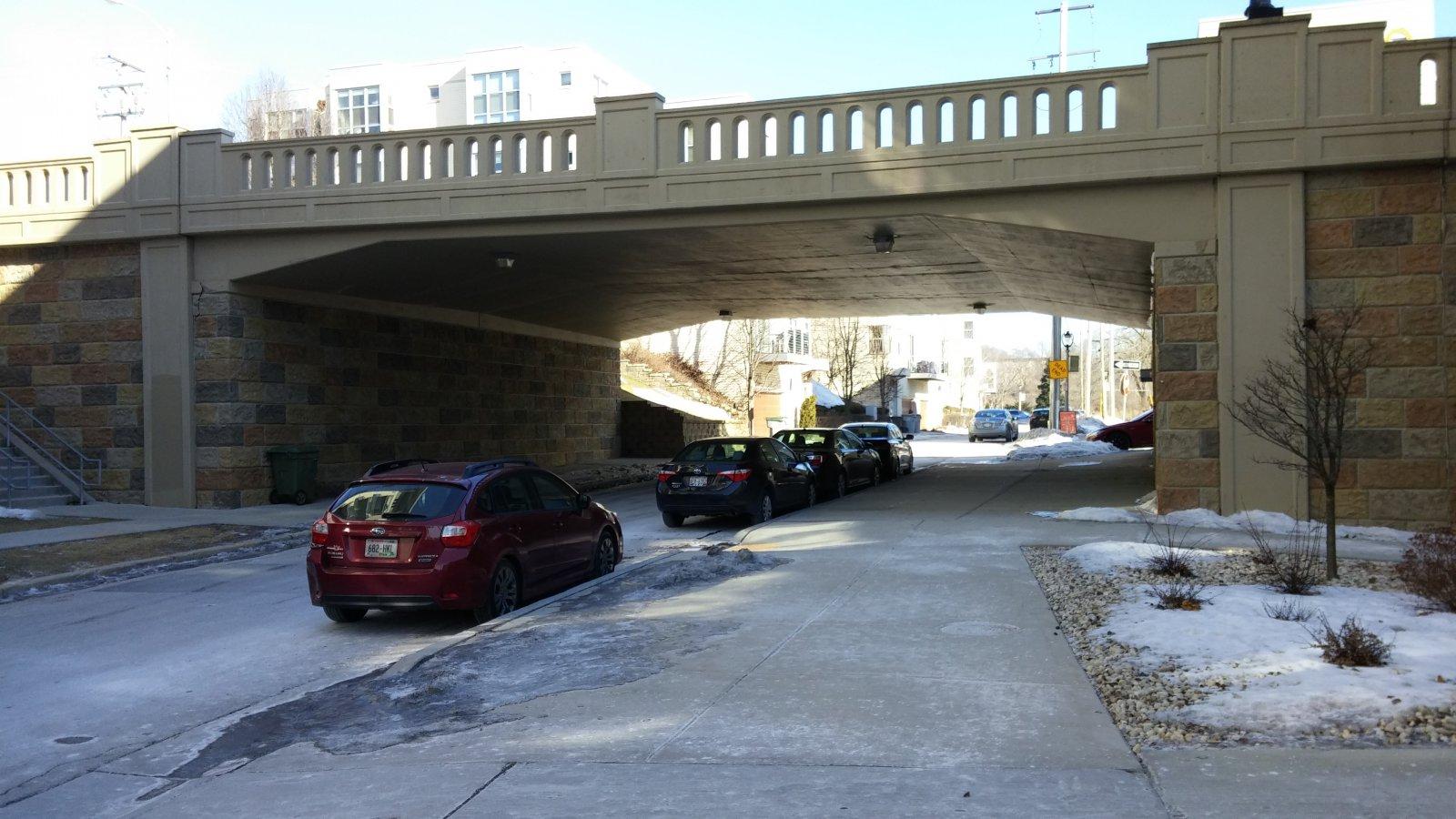 N. Riverboat Road goes under the N. Humboldt Avenue Bridge