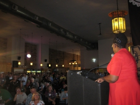 Gwen Moore speaks to the audience.