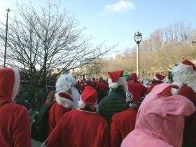 Santas, waiting.