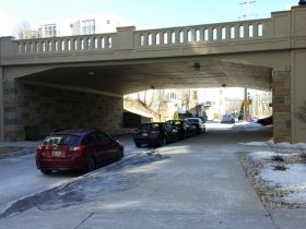 N. Riverboat Road goes under the N. Humboldt Avenue Bridge