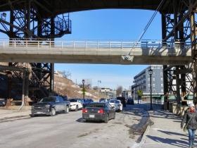 North Commerce Street runs under the Marsupial Bridge