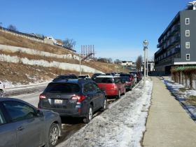 The bluffs along Commerce Street have been sloped