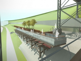 Marsupial Bridge Trestle Stair Rendering. Rendering by LA DALLMAN Architects Inc.