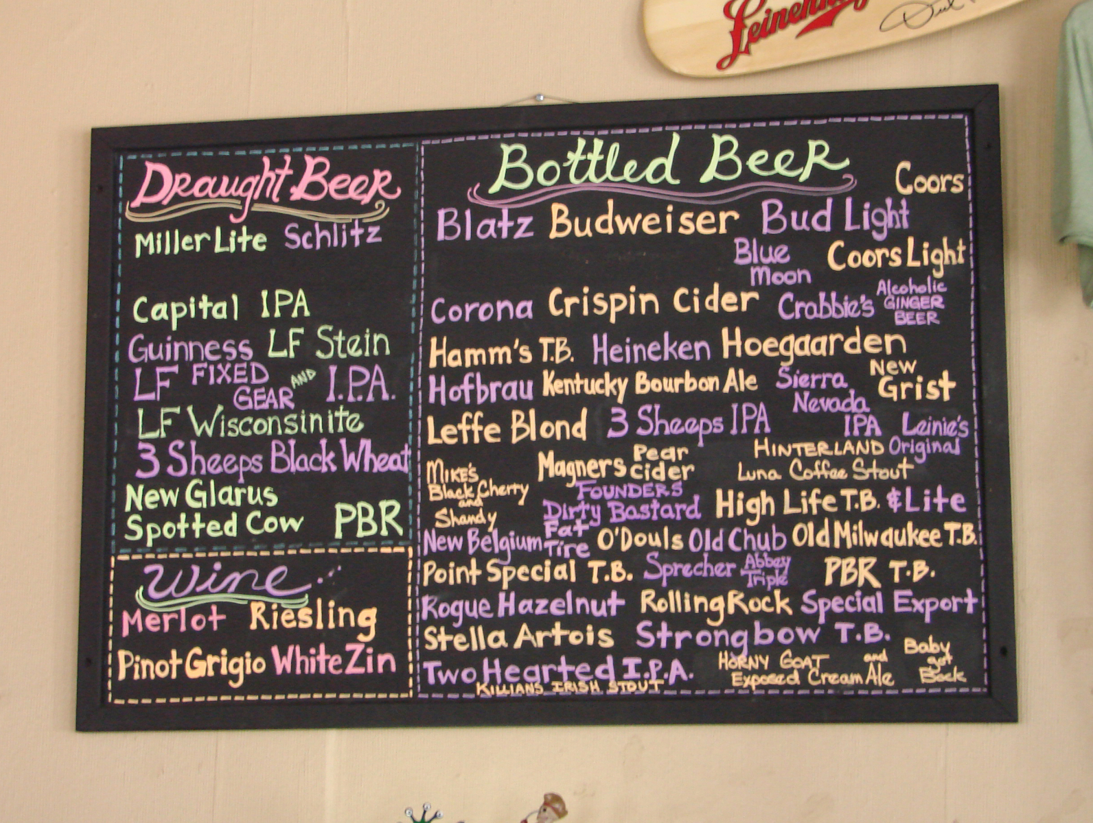 Beer board.