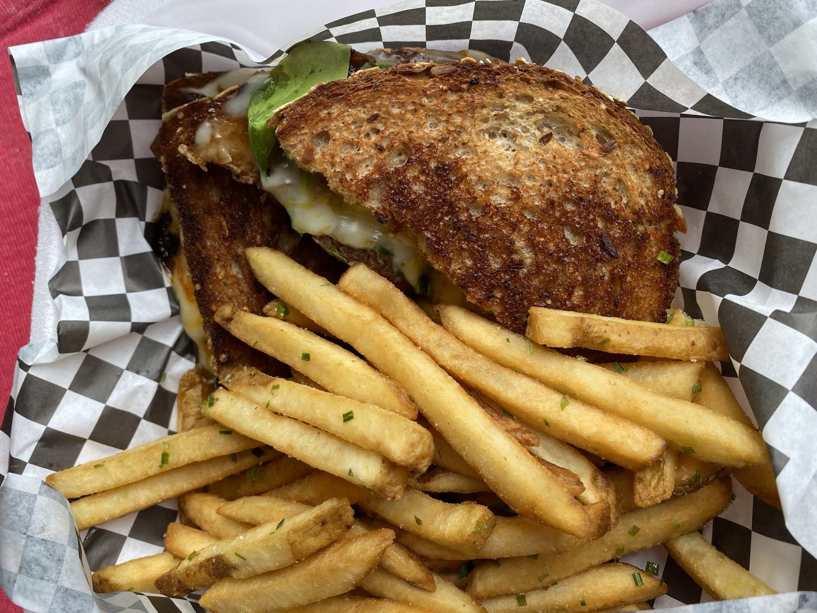 Brisket grilled cheese sandwich with chive fries