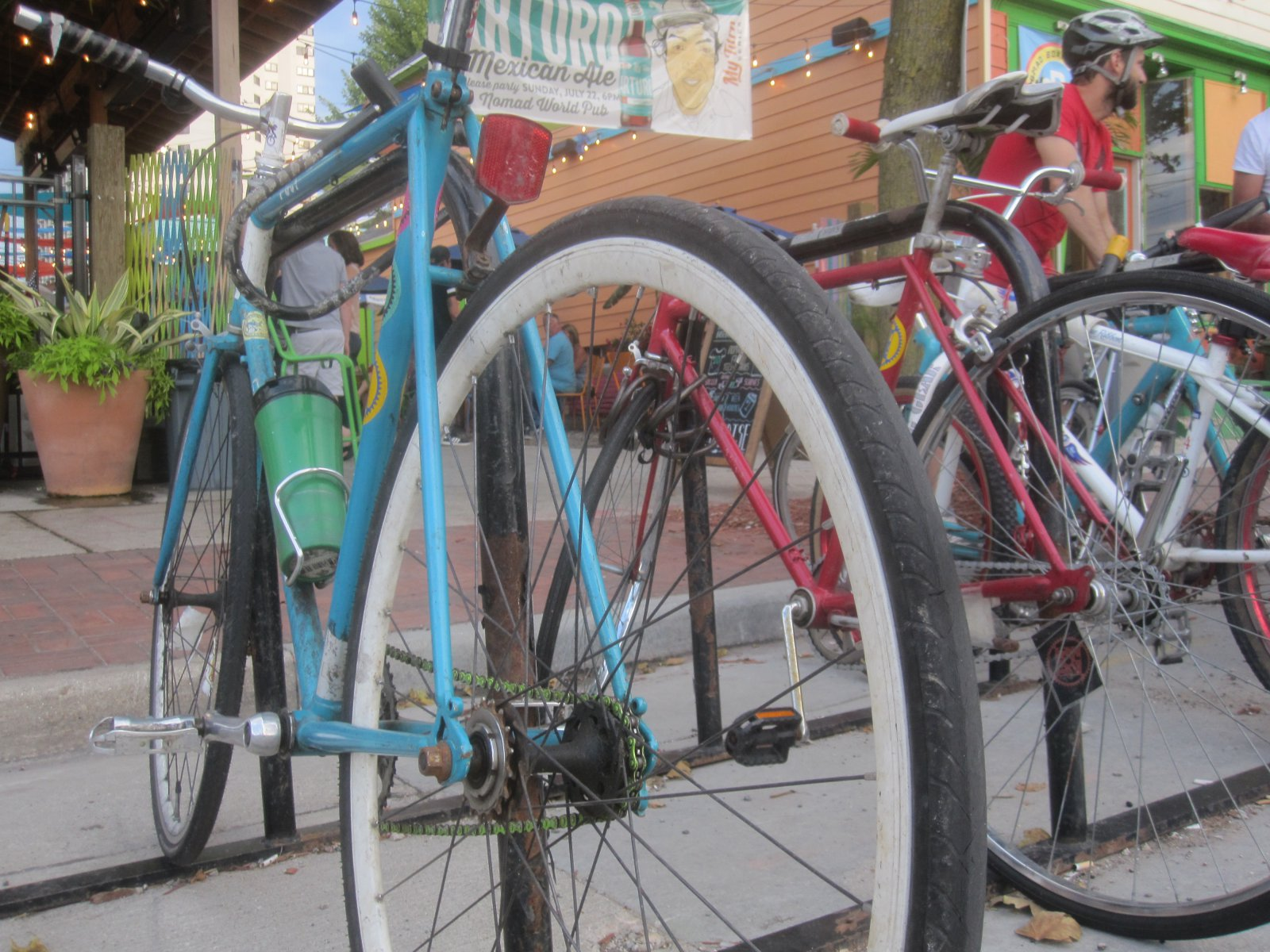 Bike rack in front of the patio