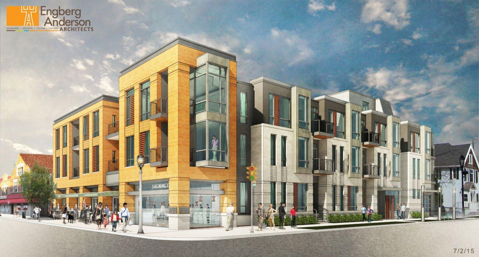 Brady Street Apartment Building Rendering SE View