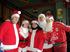 Dave Reid, Marissa Wesley, Mariiana Tzotcheva, Chris Socha, and Mike Eitel at the Nomad during the 2011 Santa Rampage.