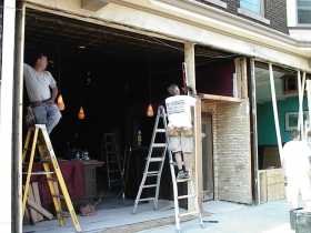 Mai Thai Restaurant was open -- but not for business -- during facade restoration of the historic Brady Street building. Work is being performed by Bierman Construction.