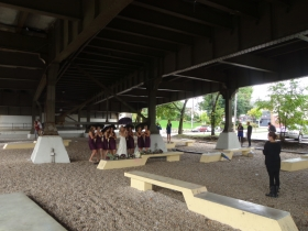 Wedding photos under the Marsupial Bridge. Photo by Michael Horne.