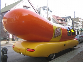 The Oscar Meyer Wienermobile on Brady Street.Photo by Michael Horne.