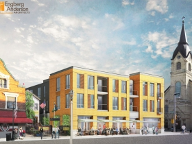 Brady Street Apartment Building Rendering SW View