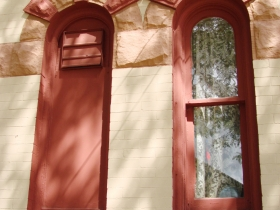 The windows were once all closed off like the one on the left now the majority of the windows are open and more welcoming.