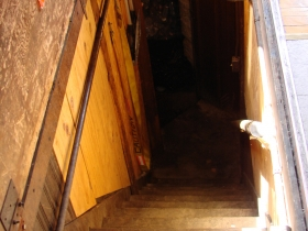 Trap door to basement and bowling alley.