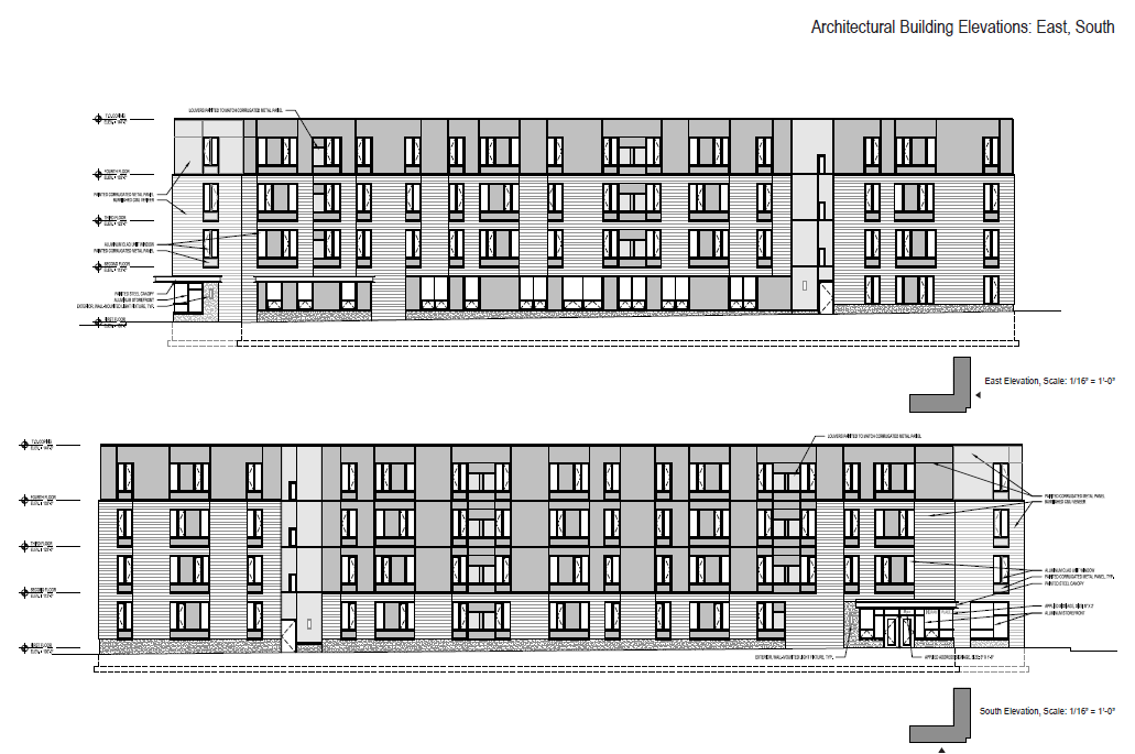 East and South Elevations of Ingram Place Apartments.