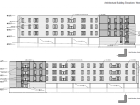 West and North Elevations of Ingram Place Apartments.