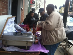 People buying BBQ. Photo by Tony Atkins.