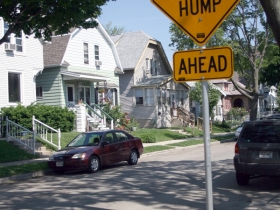 Speed Hump in front of Ald. Bob Donovan's home.