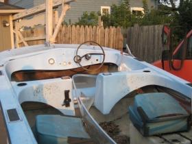 Fiberglass shell of a pleasure boat.