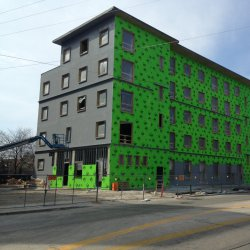 The new Jesuit Residence is under construction on Marquette\'s campus.