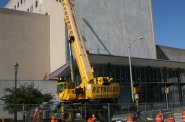 Milwaukee Public Museum\'s solar wall project under construction.