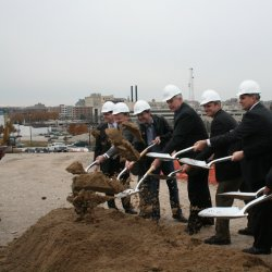 Dignitaries get in on the groundbreaking.