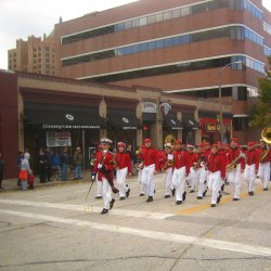 Saint John\'s Northwestern Military Academy marching in the parade.