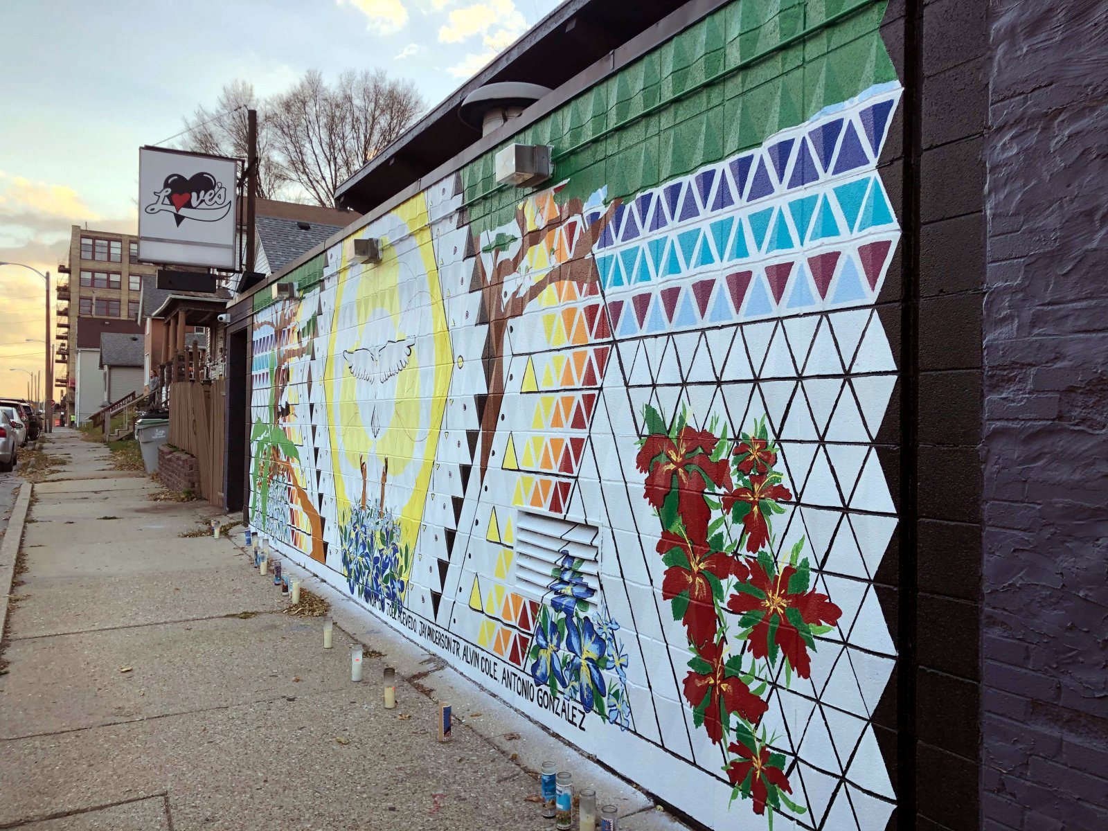 Mural on the side of Love\'s On Tap, 201 W. Mitchell St.