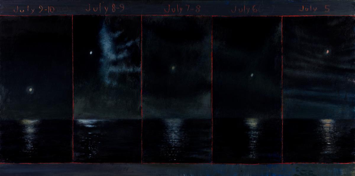 David Niec: July Moon Cycle Over Lake Michigan (panel 2)