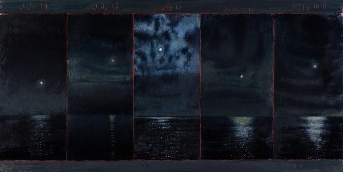 David Niec: July Moon Cycle Over Lake Michigan (panel 3)
