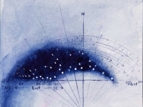 David Niec: Moon Rises and Spans, 2015. Ink and watercolor on paper. 12 by 13 inches.