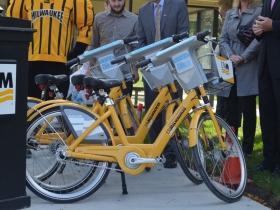 UWM-branded Bublr bikes