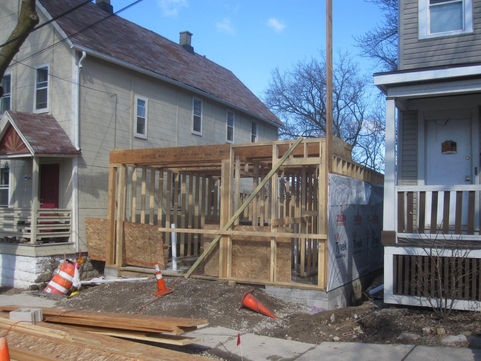 New house rising on E. Kane Pl.