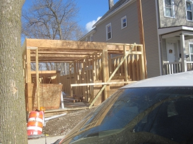 New house rising on E. Kane Pl.