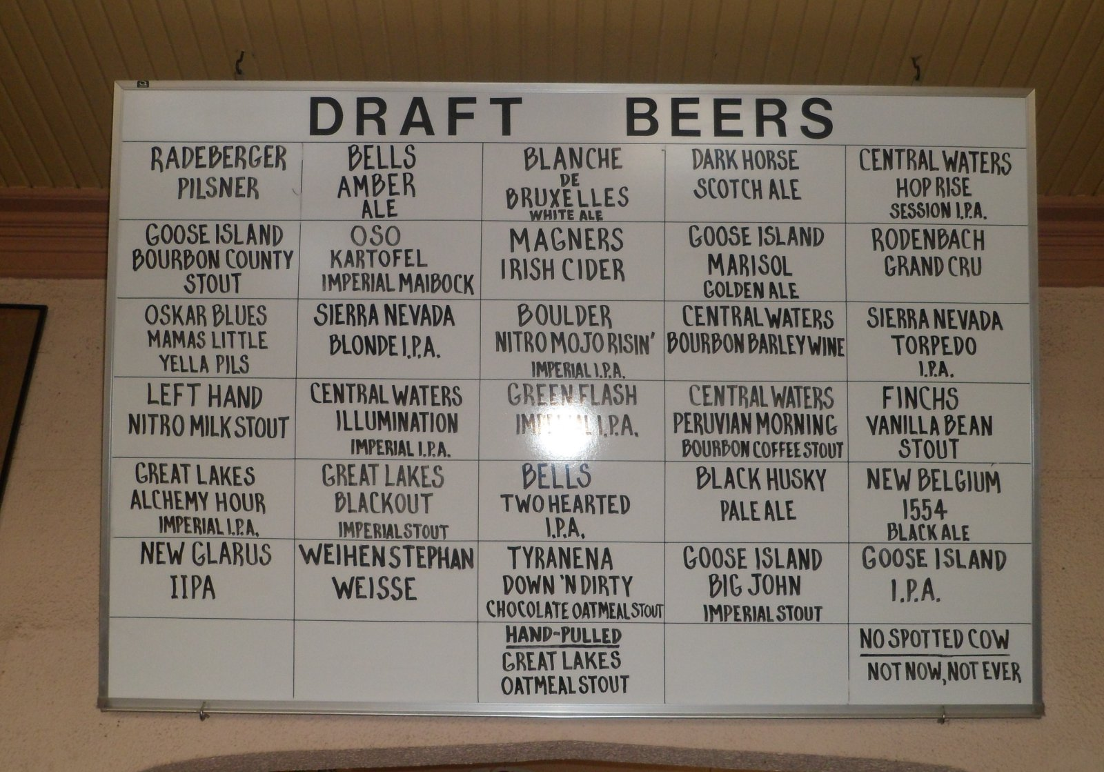 The beer selection at Romans\' Pub.
