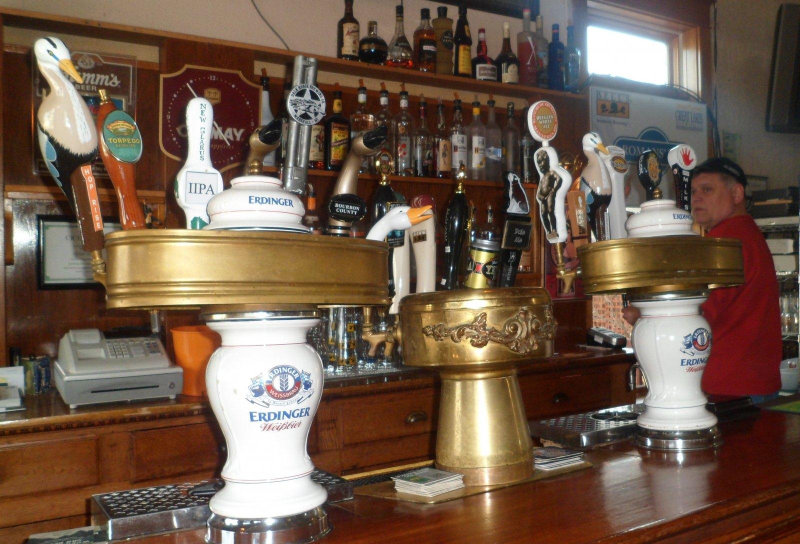 Behind the bar at Romans\' Pub.