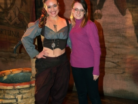 Meghan Folkerts and Cassandra Stutzman, Costume Design Intern from Mount Mary University.