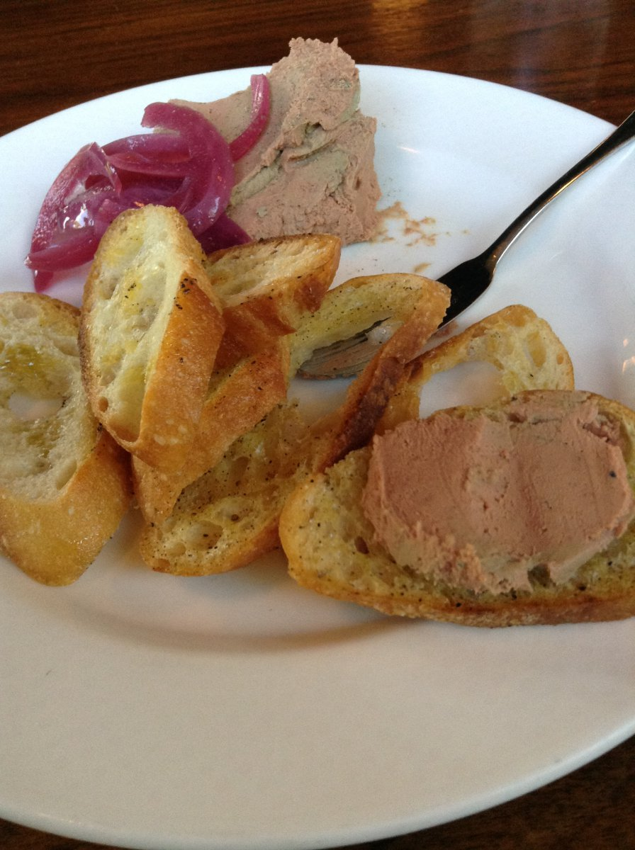 On The Menu at Goodkind: Chicken Liver Mousse with Pickled Red Onion and Crostini