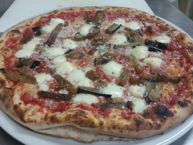 Carini's La Conca d'Oro: Parmigiana Pizza with eggplant and parmigiano reggiano