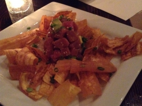 C-viche: Tuna ceviche with fried plantain chips